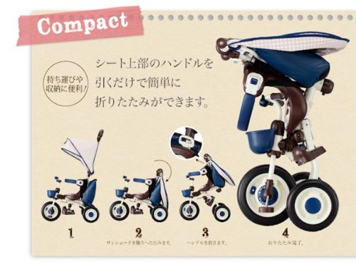 ides米奇米妮折疊式三輪車推車01176・01177